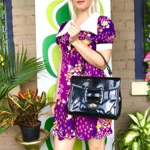 Vintage mod 50s 60s patent vinyl handbag purse